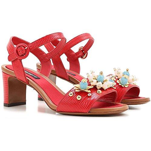 Sandales à talon Dolce&Gabbana en Cuir veau rouge - Code modèle: CR0163 AD368 80303 Rouge