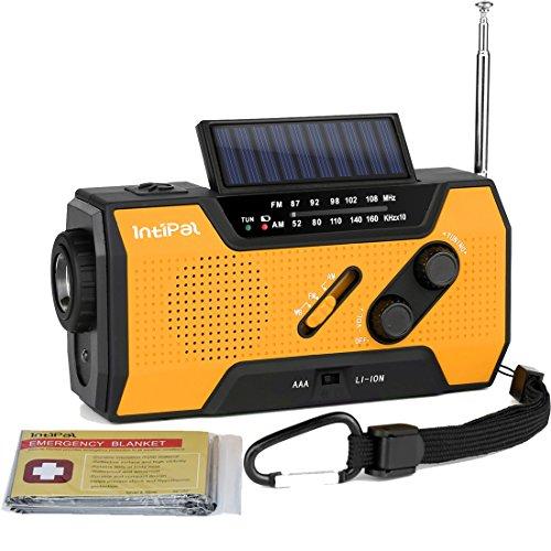 IntiPal Multifunktion Solar Dynamo Kurbel Radio mit 2000mAh Power Bank Taschenlampe Leselampe Alarm Rettungsdecke (Orange)