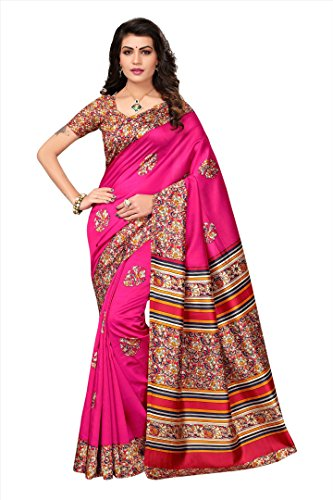 Women's Silk Saree With Blouse Piece (Pink)