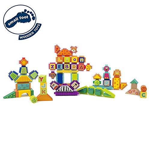 small foot 11222 Holz-und Noppenbausteine, 150-tlg. Set mit aufgedruckten Safari-Motiven Spielzeug, Mehrfarbig