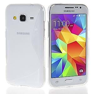 VCOMP® Samsung Galaxy Core Prime SM-G360F/ 4G SM-G361F/ G360GY G360P G360BT/DS G360FY/DS G360H/DS G360HU/DS G360M/DS: Coque silicone gel motif S-Line - TRANSPARENT