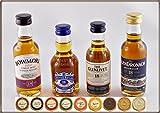 Exklusives Set 4 besonders alte Whisky (je 5cl) & 9 Edel Schokoladen, kostenloser Versand