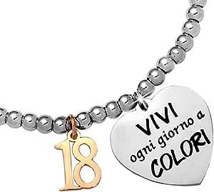 Beloved Bracciale da donna, braccialetto in acciaio emozionale - frasi, pensieri, parole con charms - ciondolo pendente - misura regolabile - con incisione