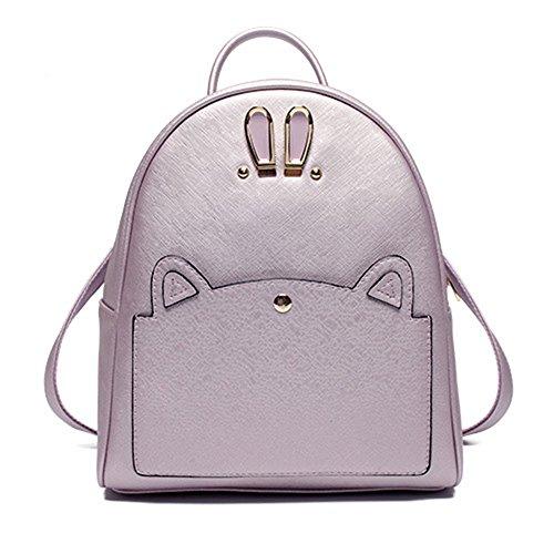 Trendy Lavendel Rucksack Handtasche PU Leder Rucksäcke Reise Schule Taschen Süß Kaninchen Ohr Daypacks für - Lavendel Kaninchen