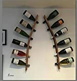 Lunes - Wine Barrel Art Wand Weinregal, Holz Eiche. Individuell handgefertigt, mit 100% recycelten Eichen Weinfässer aus der Corbières Südfrankreich. Doppel-Weinregal - ORIGINAL EICHENFASSDAUBE