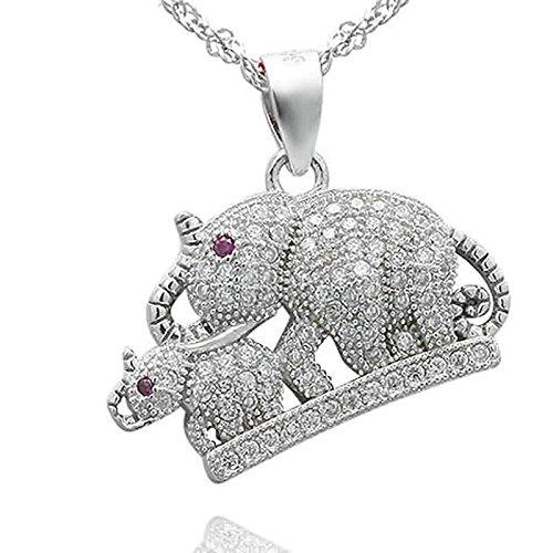 Beglie Collar de Plata de Ley 925 para Mujer, Dos Elefantes, Collar...