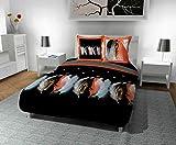 Soleil d'ocre Plumette Parure de Couette, Coton, Noir, 240x220 cm