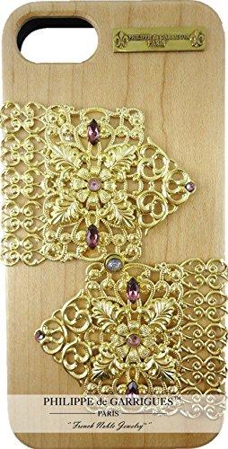 Schutzhülle iPhone 8Luxus Echtholz mit Swarovski-Strass Violett auf Filigran gold Hochwertige Handarbeit. Lieferung mit Tasche Velour mit Logo Metall der Marke.