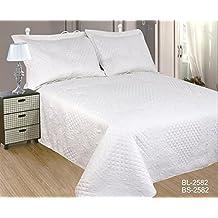 ForenTex- Colcha Boutí Cosida, (BS-2582), cama 90 y 105 cm, 190 x 260 cm, Blanca, +1 cojín, colcha barata, set de cama, ropa de cama. Por cada 2 colchas o mantas paga solo un envío (o colcha y manta), descuento equivalente antes de finalizar la compra.