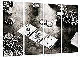 Quadro Su Legno, Tavolo da gioco, carte da casinò Poker Chips White Black King, 131 x 62cm, Stampa in qualita fotografica. Ref. 27061