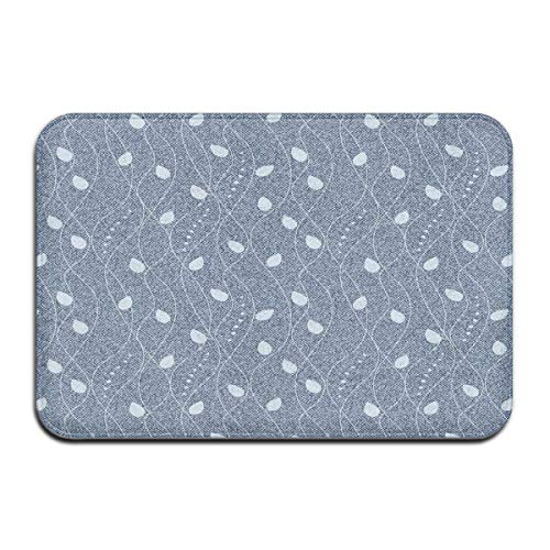 Memory Foam Bath Mat Non Slip Absorbent Super Cozy Plush Bathroom Rug Carpet,Branches Over Denim Background Contemporary Fashion Nature Mix Art Deco,Decor Door Mat 23.6 X 15.7 Inches - Deco-contemporary Rug