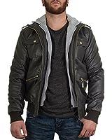 BetterStylz Bill Veste Jacket Homme faux cuir fermeture éclair capuche amovible blouson manches longues S-XXL