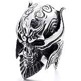 MunkiMix Large Stainless Steel Ring Silver Black Devil Skull Engraved Gothic Biker Men