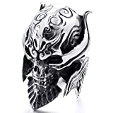 MunkiMix Grande Gran Acero Inoxidable Anillo Ring El Tono De Plata Negro Diablo Cráneo Calavera Grabado Casted Talla Tamaño 25 Hombre