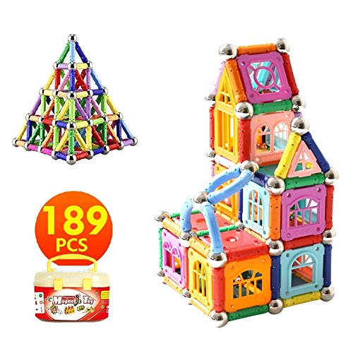 Educational Magnetic Sticks Building Blocks Toys, Magnetic Tiles Construction Blocks 3D Educational Toy Set for Kids - Magenesis�