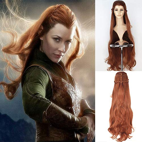 Im Kostüm Cosplay Lager - Blue Bird Movie The Hobbit The Lord of the Rings Elf Tauriel Cosplay Perücke Golden Brown Hair Long Wavy Braids Costume Perücke für Frauen Halloween Party Show