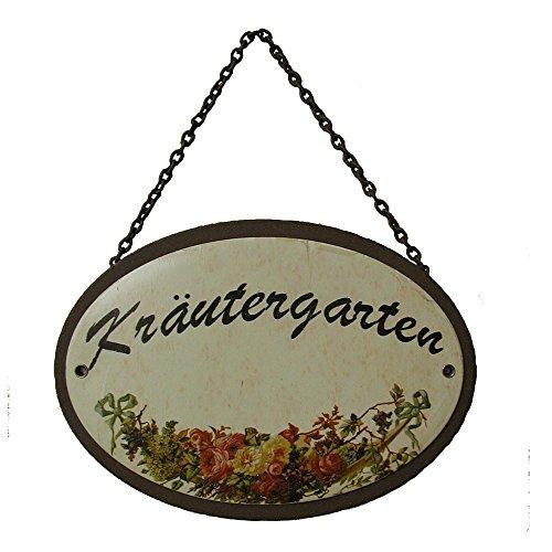 Metallschild Gartenschild Kräutergarten oval 18 x 5 cm zum Hängen Metall -