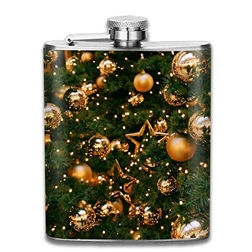 Christmas Tree Ornament Fashion Portable Stainless Steel Hip Flask Whiskey Bottle 7 Oz
