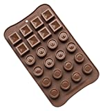 #6: Hopesun 24 Cavity Silicone Chocolate Mould, Brown