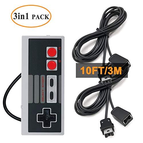 NES Classic Controller-Verlängerungskabel - Dutison 2 Stück 3 m Verlängerungskabel mit Mini NES Classic Controller - für SNES Classic 2017, NES Classic 2016, Wii, Wii U Controller und mehr - Zwei Controllern Wii Mit