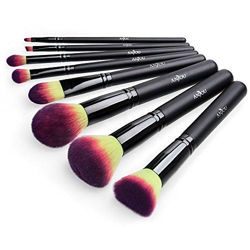 Brocha Maquillaje 8 Piezas Cepillos Pinceles de Maquillaje Profesional de Anjou Cerdas de Fibra Sintética Suave