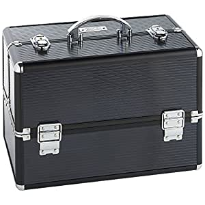 Beautify Large Professional Aluminium Black Beauty Make Up Nail Cosmetic Box Vanity Case