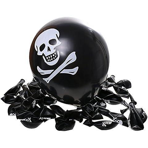 Tinksky Globos cráneo esqueleto impresión de Halloween globos para decoración de Halloween 100pcs (negro)