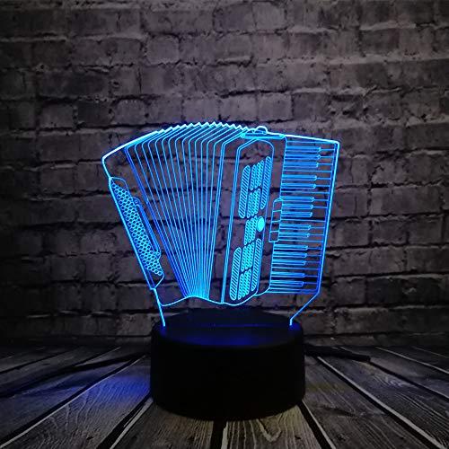 Nachtlicht Musikinstrument Akkordeon 3D USB LED Lampe Romantische Multicolor Stimmung Atmosphäre Tischdekoration Kinder Spielzeug Geschenk, Touch -