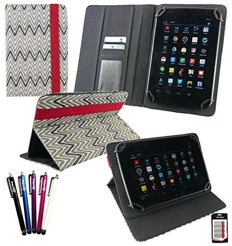 Emartbuy® Bündel von 5 Eingabestift + Universalbereich TextuRot Monochrome Zigzag Multi Winkel Folio Executive Case Cover Wallet Hülle Schutzhülle mit Kartensteckplätze Geeignet Für I.onik TP - 1200QC 7.85 Zoll Tablet