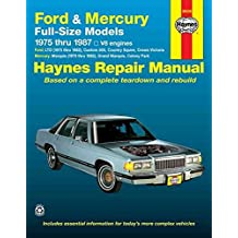 [Ford and Mercury Full-size Models, 1975-87 V8 Engines Owner's Workshop Manual] (By: Chaun Muir) [published: September, 1988]