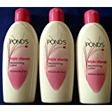 POND'S Triple Vitamin Moisturising Body Lotion for Soft Smooth Radiant Skin Glow, 100ml - Pack of 3