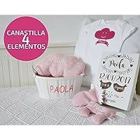 """Canastilla de nacimiento personalizada para bebé """"4 elementos"""". Un regalo original, personalizado y hecho a mano. *Cesta decorativa de madera, para recién nacido. *Incluye la canastilla, un saquito térmico para bebé, un cojín nube, un body y un lienzo con los datos del nacimiento. TODO PERSONALIZADO con el nombre del bebé."""