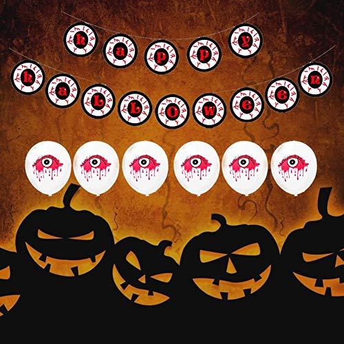tidystore Halloween Latex Luftballons Halloween Party Dekoration Set , 6 rote Augen + 6 blutende Augen Papier + 1 Spirale rot und schwarz + 1 Geschenkspender + 1 Eye Letter Pull Flag