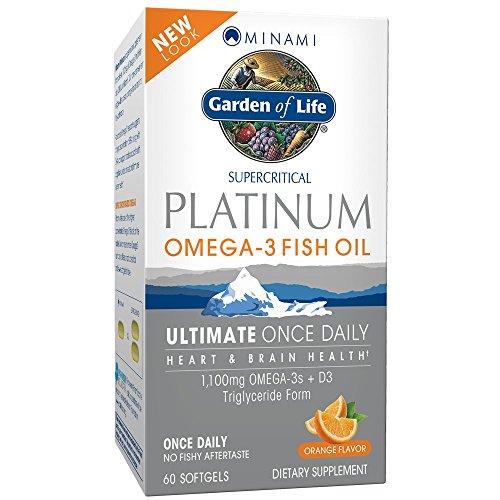 Garden of Life Minami Platinum Omega-3 Fish Oil - 60 Kapseln I Fischöl I EPA I DHA I Vitamin D3 I Orangengeschmack