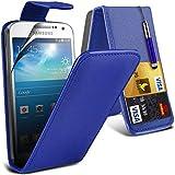 ONX3® ( Blue ) Samsung Galaxy S4 Mini Plus I9195I Case Custom Made PU-Leder-Schlag mit Kredit- / Bankkarte Slot Hülle Tasche mit LCD-Display Schutzfolie, Poliertuch und Mini-versenkbaren Stylus Pen