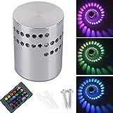 Lamker 3W LED Wandleuchte Wandlampe Dimmbar Innen RGB Wandlicht Deckenleuchte Effektlicht Flurlampe Spirale Effekt mit Fernbedienung für Flur Schlafzimmer Balkon Wohnzimmer