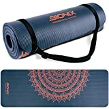 Bionix Blue Premium Printed Pilates Yoga NBR Foam Exercise Mats With Carry Strap
