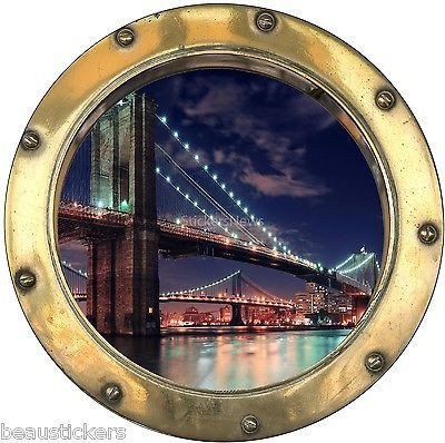Stickersnews - Stickers hublot trompe l oeil New York réf: 8818 Dimensions - 20x20cm