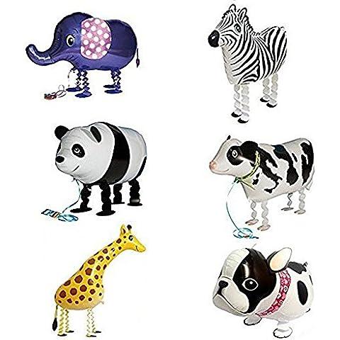 Globo - SODIAL(R)6pzs Globos de animal caminando Decoracion de fiesta de cumpleanos Regalo de ninos - Incluyendo Buldog, Girafa, Cebra, Elefante, Panda,