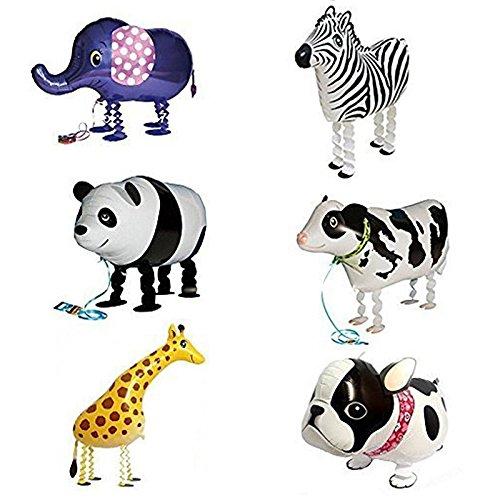 Preisvergleich Produktbild Ballon - SODIAL(R)6pcs Kind Party Tier Ballon- inklusive Bulldogge, Giraffe, Zebra, Elefant, Panda, Kuh