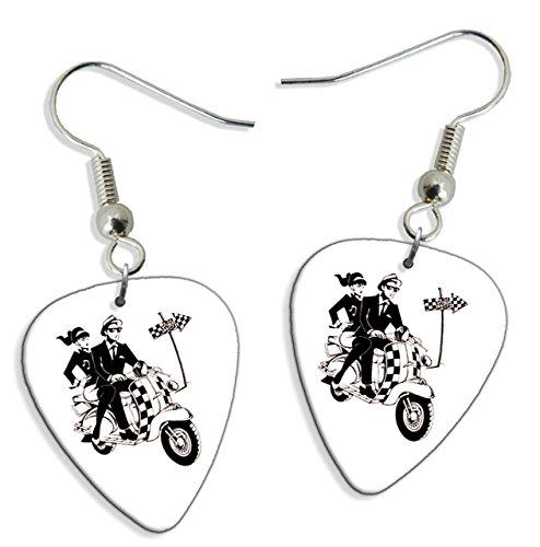Ska Scooter 2 Tone 2 X Gitarre Plektrum Pick Ohrringe Earrings (GD) (Ohrringe Two Tone)