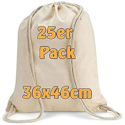 Moderno Turn sacchetto tessuto di cotone Zaino Sacchetto con coulisse 36x 46cm 25sacchetti naturale