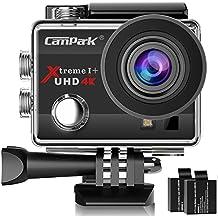 Campark 4K Action Cam WIFI Sport Action Camera Full HD 16MP 170° Grandangolare 2.0 Pollici 2 Batteria di Ricambio