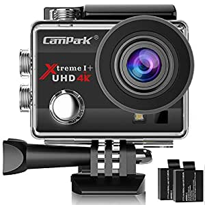 Campark 4K Action Cam WIFI Sport Action Camera Full HD 16MP 170° Grandangolare 2.0 Pollici 2 Batteria di Ricambio (Nero)