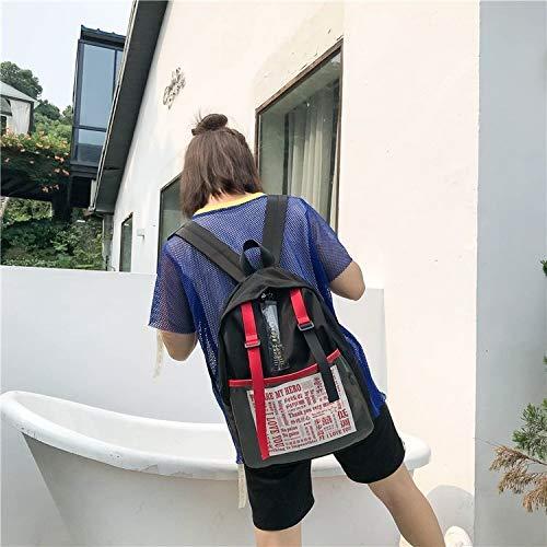 NoNo Boutique, stilvoll, schön, bequem, Lagerung Graffiti Worte Muster Doppel Schultern Schultasche Reisetasche Backpackage Freizeittasche Sporttasche bequemer Rucksack Lager (Farbe : Black) -