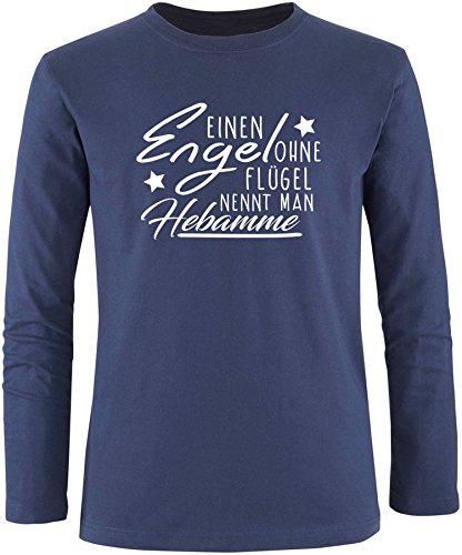 EZYshirt® Ein Engel ohne Flügel nennt man Hebamme Herren Longsleeve Navy/Weiss