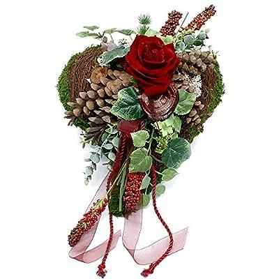Grabgesteck - Grabschmuck - Grabaufleger Herz mit Rose 749