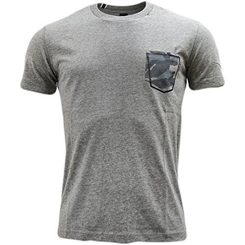 Replay Men's Men's White T-Shirt With Patch Pocket 100% Cotton Grau