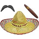 12 sombreros mexicanos, 12 bigotes y 12 puros de mentira JUMBO, color paja.