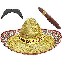 12 sombreros mexicanos, 12 bigotes y 12 puros de mentira tamaño grande, color paja